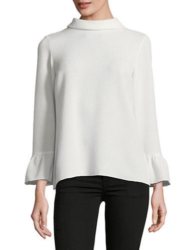 Ellen Tracy Cloque Bell Sleeve Blouse-CREAM-Small