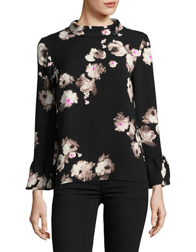 Ellen Tracy Cloque Bell Sleeve Blouse-BRUSHSTROKE-Small