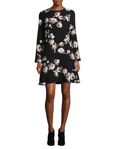 Ellen Tracy Floral Flounce Shift Dress-BRUSH STROKE-14