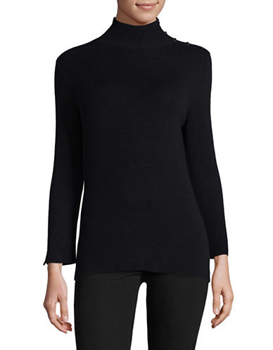 Ellen Tracy Sleeve Slit Mock Neck Sweater-NIGHT SKY-Large