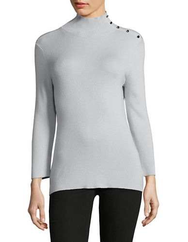 Ellen Tracy Sleeve Slit Mock Neck Sweater-SLATE-Medium