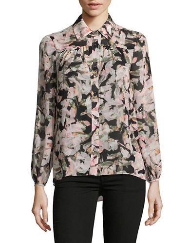 Ellen Tracy Petite Floral-Printed Shirred Blouse-BOTANICAL-Petite Large