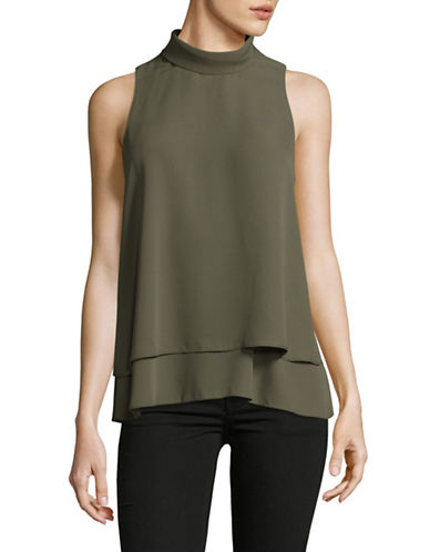 Ellen Tracy Petite Double-Layer High Neck Top-FERN-Petite Medium