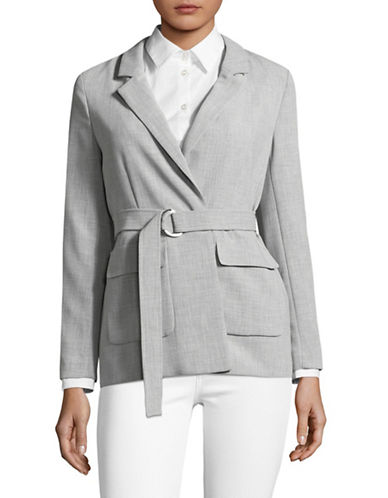 Ellen Tracy Petite Notched Collar Long-Line Blazer-SLATE HEATHER-Petite 8
