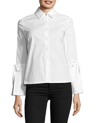 Ellen Tracy Petite Bell-Sleeve Button Front Top-E WHITE-Petite Small