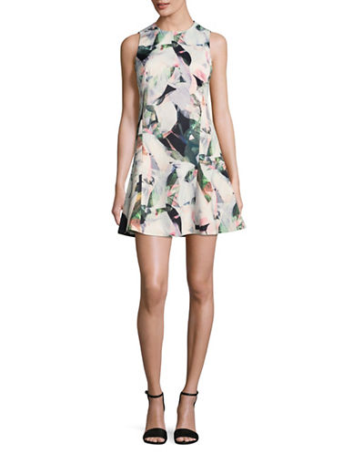 Ellen Tracy Petite Sleeveless Fractal Floral Dress-FLORAL MULTI-Petite 12