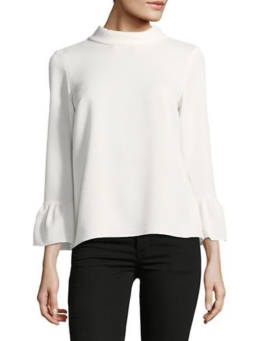 Ellen Tracy Petite Cloque Bell Sleeve Blouse-CREAM-Petite X-Small