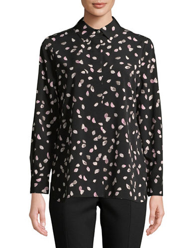 Ellen Tracy Petite Boyfriend Concealed-Fly Shirt-PETALS-Petite Large