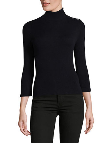Ellen Tracy Petite Split Cuff Turtleneck Top-NIGHT SKY-Petite X-Small