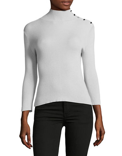 Ellen Tracy Petite Split Cuff Turtleneck Top-SLATE-Petite X-Large