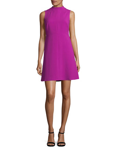 Ellen Tracy Petite Seamed Mock Neck A-Line Dress-PINK-Petite 8