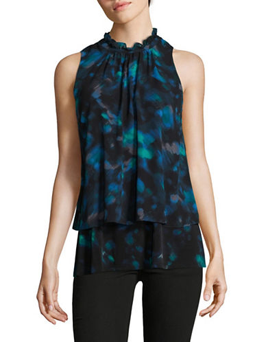Ellen Tracy Floral-Printed Sleeveless Blouse-BLUE-Small