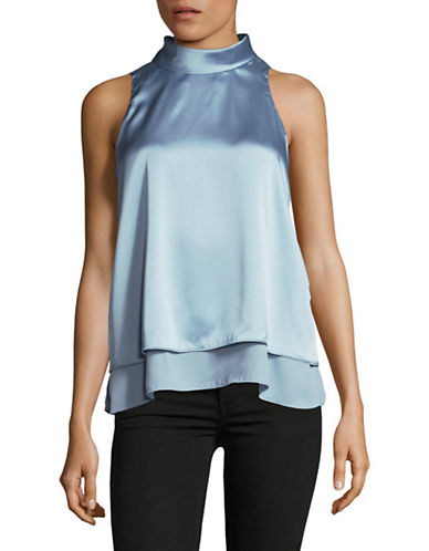 Ellen Tracy Double Layer High Neck Top-BLUE-X-Large