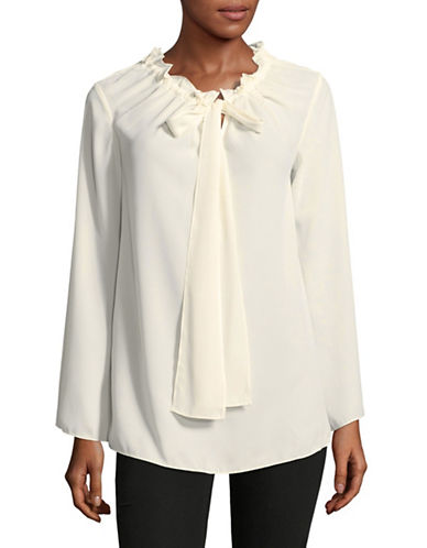 Ellen Tracy Tie Neck Blouse-WHITE-X-Small