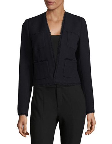 Ellen Tracy Fringe Trimmed Jacket-NIGHT SKY-12