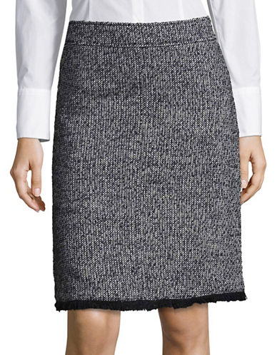 Ellen Tracy Tweed A-Line Skirt-GREY-2