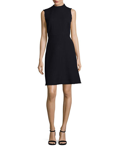 Ellen Tracy Seamed Mock Neck A-Line Dress-NIGHT SKY-14