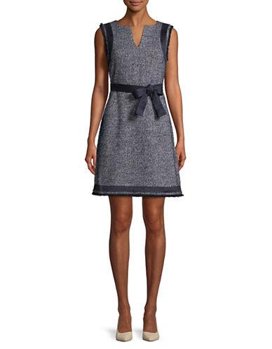 Ellen Tracy Split Neck Wool-Blend Dress-NIGHT SKY-14