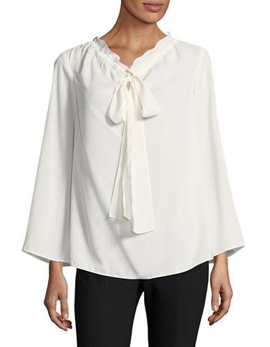 Ellen Tracy Petite Tie Neck Blouse-WHITE-Petite X-Large