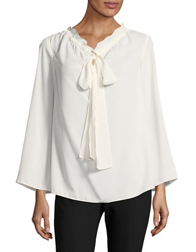 Ellen Tracy Petite Tie Neck Blouse-WHITE-Petite X-Small
