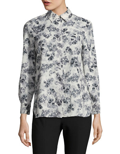 Ellen Tracy Petite Floral Roll-Tab Boyfriend Shirt-WHITE MULTI-Petite Small