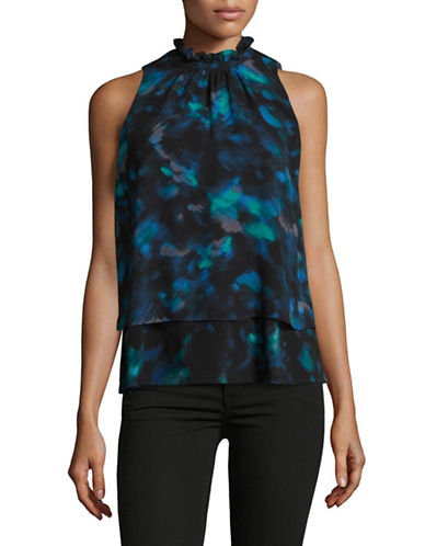 Ellen Tracy Petite Floral-Printed Sleeveless Blouse-AURORA-Petite X-Large