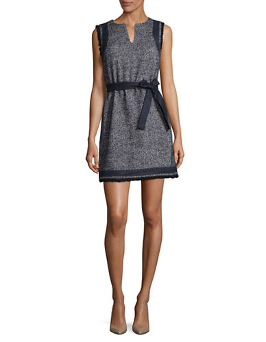 Ellen Tracy Petite Split Neck Shift Dress-GREY-Petite 8