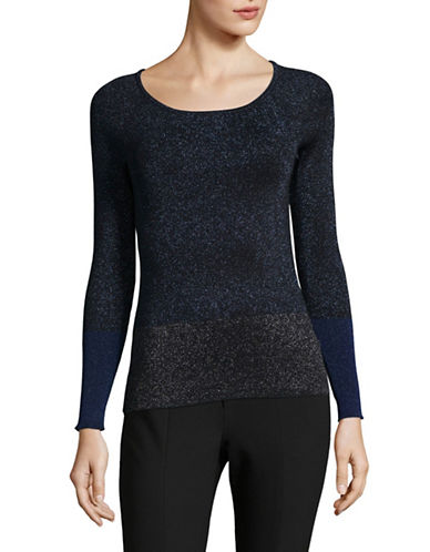 Ellen Tracy Petite Metallic Colourblock Sweater-GREY-Petite Large