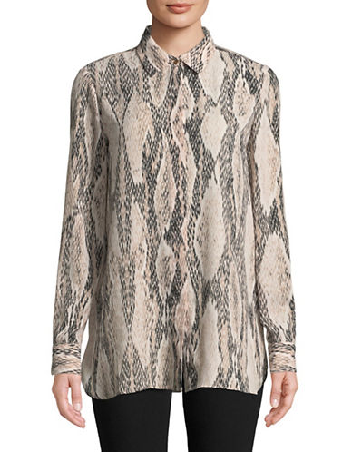 Ellen Tracy Printed Dress Shirt-NATURAL-X-Small