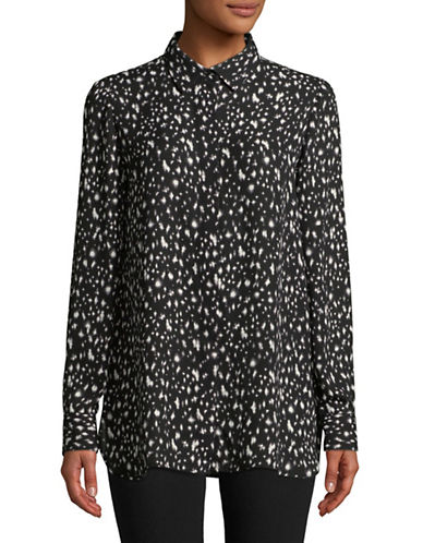 Ellen Tracy Printed Dress Shirt-BLACK-X-Small