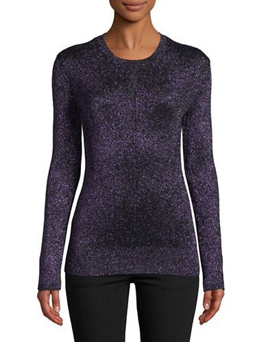 Ellen Tracy Ribbed Metallic Sweater-BLACK-Large