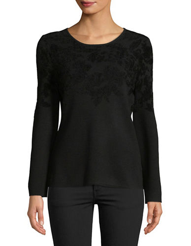 Ellen Tracy Flare Sleeve Flocked Sweater-BLACK-X-Large