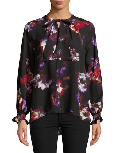 Ellen Tracy Printed Neck Tie Blouse-BLACK-X-Small