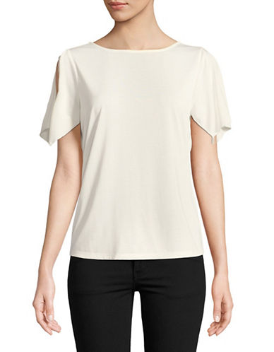 Ellen Tracy Short Flutter Sleeve Top-NATURAL-X-Large