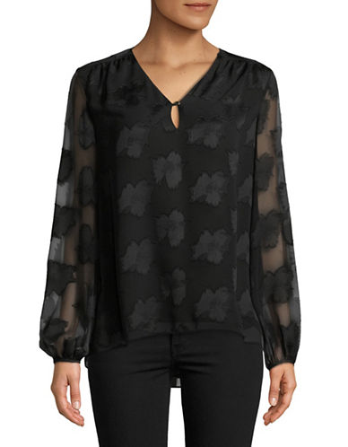 Ellen Tracy Tonal Print Keyhole Blouse-BLACK-Small