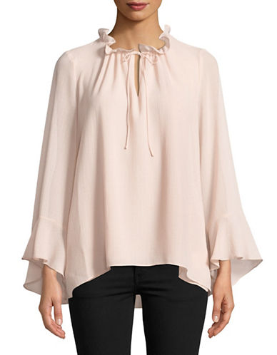 Ellen Tracy Butterfly Sleeve Ruffle Blouse-PINK-X-Large