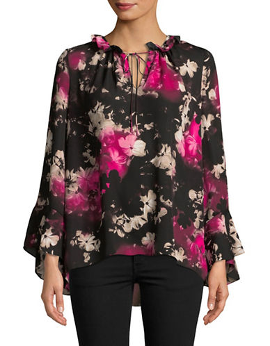 Ellen Tracy Butterfly Sleeve Ruffle Blouse-ASSORTED-X-Large