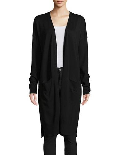 Ellen Tracy Long Sleeve Side Slit Cardigan-BLACK-Small 89695948_BLACK_Small