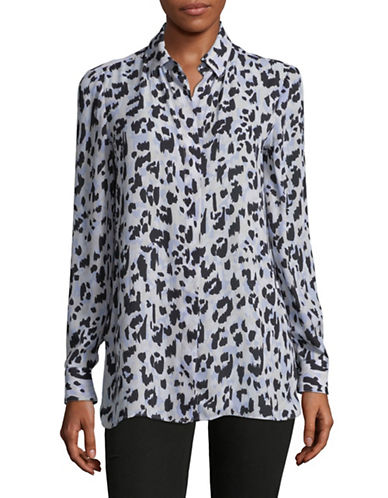 Ellen Tracy Leopard Print Dress Shirt-GREY-X-Small