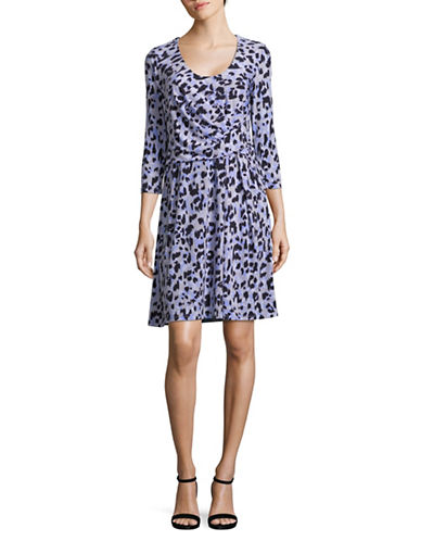 Ellen Tracy Printed Side Twist Dress-MULTI-Large