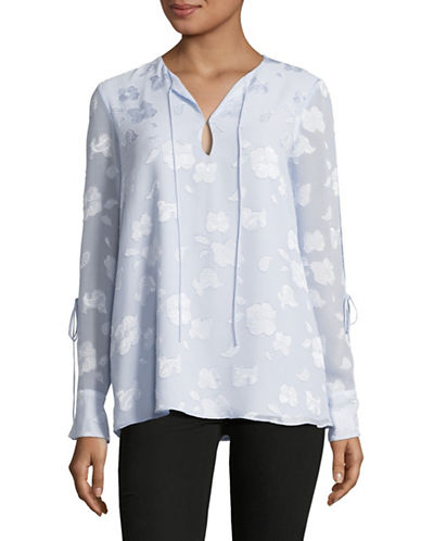 Ellen Tracy Floral Tie Slit Blouse-BLUE-Large