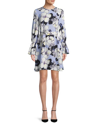 Ellen Tracy Cloque Belted Shift Dress-BLUE-2