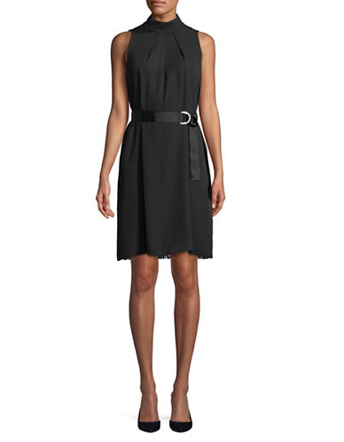 Ellen Tracy Pleated High Neck Trapeze Dress-BLACK-12