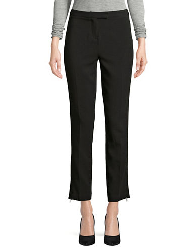 Ellen Tracy Zip Slim Ankle Trousers-BLACK-2