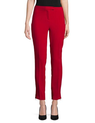 Ellen Tracy Zip Slim Ankle Trousers-RED-16