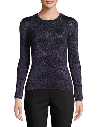 Ellen Tracy Petite Metallic Pointelle Sweater-BLACK-Petite Small