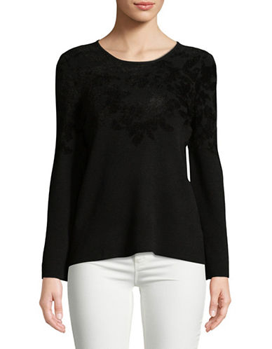 Ellen Tracy Petite Flocked Flare-Sleeve Sweater-BLACK-Petite Medium