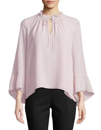 Ellen Tracy Petite Bell Sleeve Blouse-PINK-Petite Large