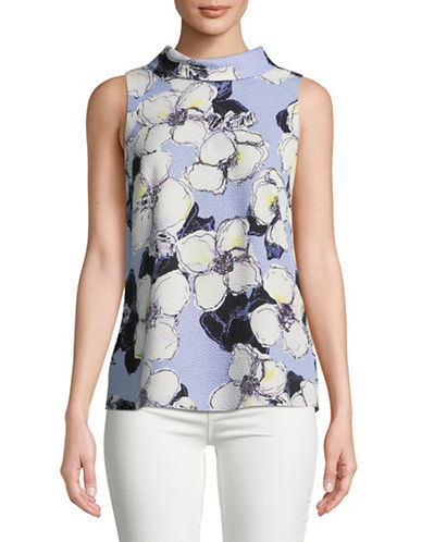 Ellen Tracy Petite Tie-Back High Neck Top-BLUE-Petite Small