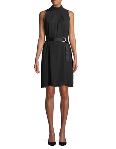 Ellen Tracy Petite Pleated High Neck Trapeze Dress-BLACK-Petite 2